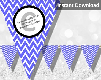 Periwinkle Chevron Bunting Pennant Banner Instant Download, Party Decorations