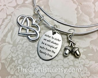 S15B, Sister Bangle, Sister Gift, Sisters Bangle, Sisters Jewelry, Sister Christmas Gift, Sister Charm, Acorn Charm, Tree, Sister Bracelet