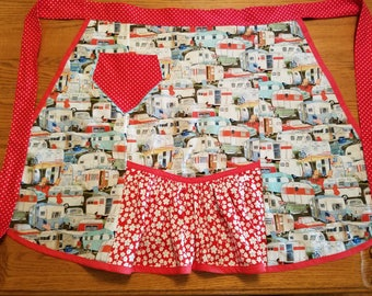Vintage Style Half Apron with Vintage Trailers Print