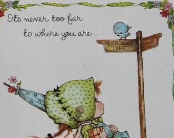 Vintage Girl Birthday Card, Cute Girl and Bird Greeting Card, Unused Penpal Special Friend Birthday Card, by Anneliese Brick Mill Studios