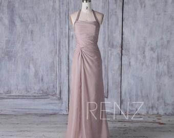 Rose Gray Chiffon Bridesmaid Dress, Asymmetric Wedding Dress, Sequin Halter Prom Dress, Long Evening Gown Floor Length (H423)