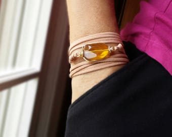 Citrine Faceted Glass Wrap Bracelet on Faux Leather - November Birthstone