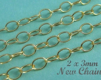 1,3,5,10,,,14k Gold Filled FLAT Cable Chain, 2x3mm, Wholesale Chain GF306