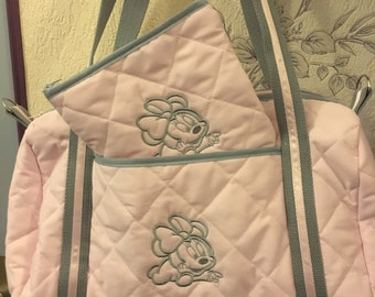 All diaper bag and toiletry bag in quilted fabric pattern baby Minnie.