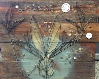 CUSTOM ORDER *Jackalope* String Art Reclaimed Wood Found Items Salvage Art Steampunk