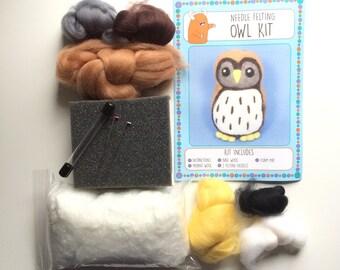 Barn Owl kit make your own needle felted bird