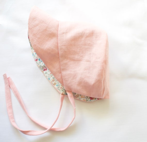 Pink and Floral reversible baby bonnet