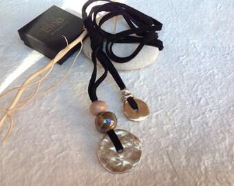 JOY Necklace Long Suede Black