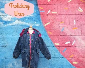 Vintage Puffy Denim Hooded Winter Coat (Girls Size 6/7)