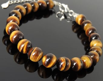 Men's Women Adjustable Bracelet Brown Tiger Eye 925 Sterling Silver Spacers Clasp Link DiyNotion BR1352