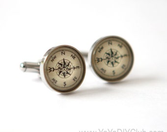 Vintage Compass Cufflinks Nautical Cuff Links Custom - unique gifts for travelers, birthday gift, unique gift for men, dad, father,