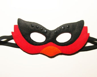 Cardinal felt mask - Red Orange Black bird - for kids & adults boys girls - handmade soft Dress up play costume accessory Theatre roleplay