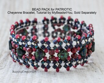 Bead Pack BB76 for Patriotic Cheyenne Bracelet, Tutorial by MyBeads4You Sold Separately, BB-76 Patriotic Cheyenne Bracelet