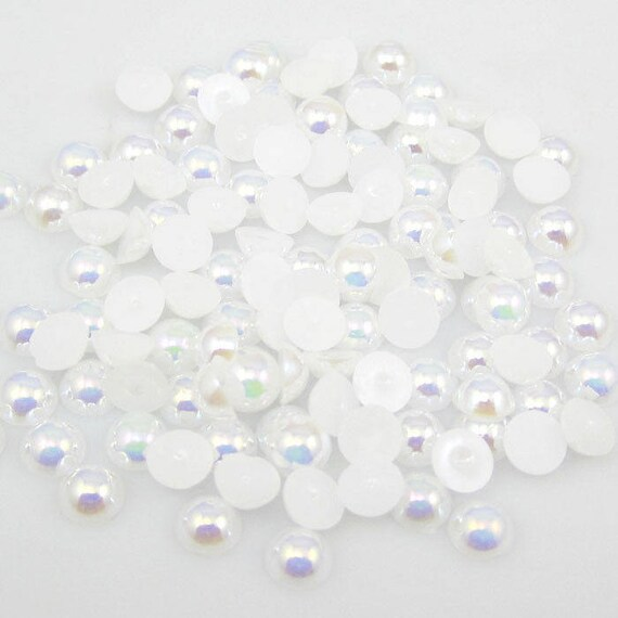 MajorCrafts® White AB Flat Back Half Round Resin Pearls C01