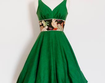 Forest Green Linen & Leafy Sweetheart Swing Dress - Circle Skirt - Made by Dig For Victory