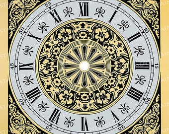 Clock dial ceramic decal, dial fusible transfers, image transfers, decals for ceramics, decals for glass, decals for enameling, 1400-1562 ºF