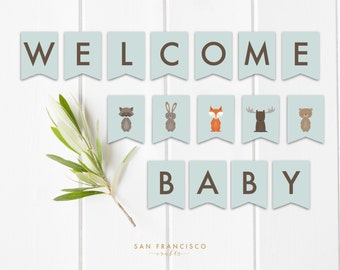 Welcome Baby Woodland Banner - Printable Bunting - Baby Shower Decor - Woodland Animals, Moose, Fox, Bear - DIY - Instant Download