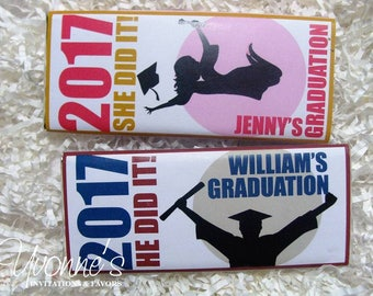 Graduation Candy Bar Wrappers - Chocolate Bar Favors - Congratulations - He/She Did It! - High School, College Graduation