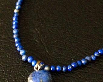 Heart on Lapis Lazuli 3mm Beaded Necklace