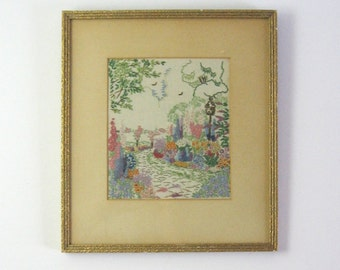Flower Garden Landscape - Vintage Framed Embroidery Art - Flower Wall Decor - Colorful Fiber Art - French Knot Flower - Pastel Home Decor