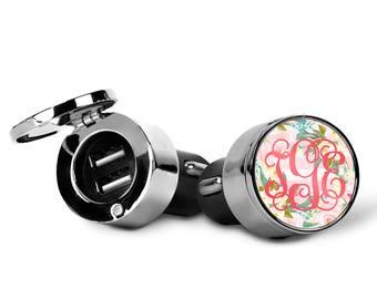 Monogrammed USB Car Charger   Custom Design   Car Charger   Monogrammed Gift