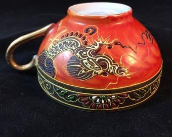Vintage Orange Dragon  Tea Cup and Saucer With Geisha Girl