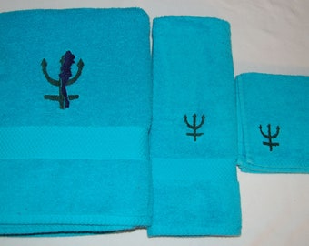 Sailor Moon - Sailor Neptune Inspired Embroidered Towel Set