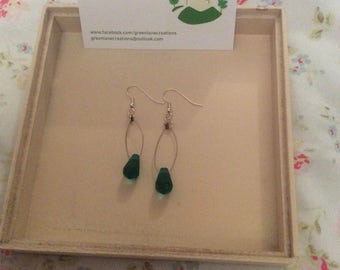 Teal Teardrop Wire Earrings
