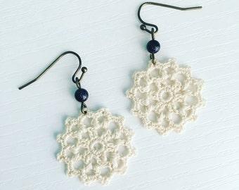 Belmont Crochet Earrings in Ivory, Boho Wedding Jewelry, Lace Doily Earrings, Lightweight Dangle Earrings, Off White Bridal Earrings
