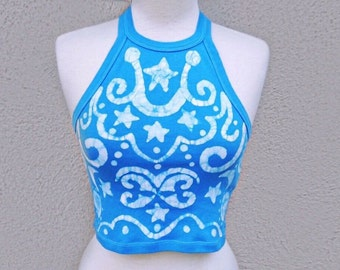 Blue Batik Crop Top, Blue and White Tank Top, Summer Festival Hippie Clothing, One of a Kind