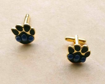 Vintage Animal Dog Paw Cuff-links, Father's Day, Golden Paw CuffLinks , Blue Star Stone, Animal Creature - Year of the Dog by enchantedbeas