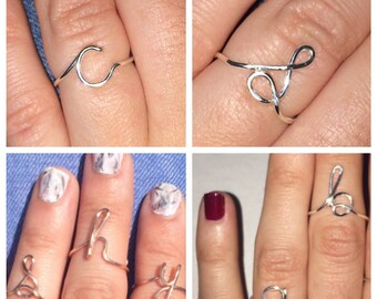 Initial Wire Ring, Custom Letter Ring, Adjustable Size, Choose Color