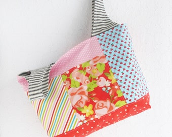 Patchwork Tote Bag | Colorful handbag to use for a reuseable market tote or grocery shopping bag, carry all, project tote or storage bag.