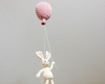 Balloon Mobile, Bunny Mobile, Pink Balloon Mobile, Balloon Nursery Hanging Mobile, Baby Mobile, Gender Neutral Nursery Mobile, White Nursery