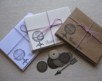 6 Handmade vintage globe blank thank you notecard set