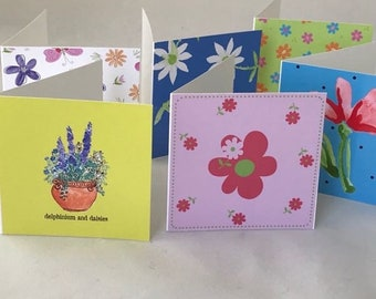 SQUARE GIFT TAG, Foldover card, colorful gift card, gift tags blank, mini gift card,  set of 6, small stationary
