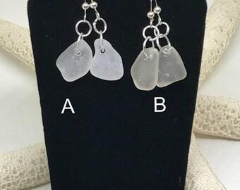 Beach Earrings, Beach Glass Earrings, Lake Erie Beach Glass, Beach Gift, Gift For Her, Frosted White Beach Glass