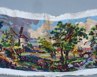 Has been embroidered with a geometrise pattern rural landscape with mill, bright colors, dimensions 103 cm X 42 cm.