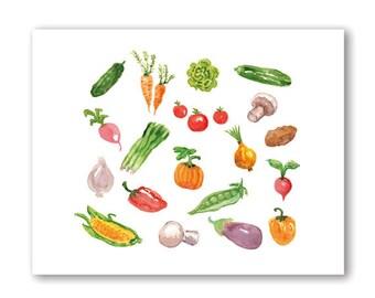 Printable Art, Vegetables Print, Vegetables Watercolor Painting, Printable Wall Art, Printable Kitchen Wall Art, Instant Download