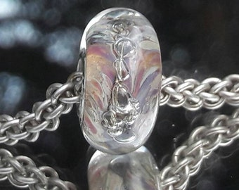 Rainbow swirls - Glass Bracelet Charm Bead - big hole bead, European charm bead bracelets,