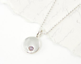 June Birthstone Necklace, Sterling Silver Alexandrite Necklace, June Birthstone Charm Necklace Birthday Gift with Sterling Silver Chain |NS4