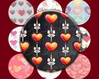 Valentine's Day Heart Patterns 1 Inch - Digital Collage Sheet Printable Instant Download 4x6 with 15 images  jewelry-craft - bottlecap