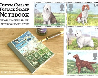 Notebook for Dog Lover, Pocket Journal | Sheepdog, Spaniel, West Highland Terrier, Red Setter | upcycled dog stamp custom collage landscape