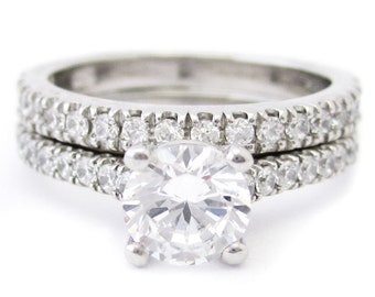 1.45ctw round cut prong set diamond engagement ring and band R180