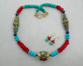 MAGNIFICENT Tibetan Bronze Beads Inlaid with Turquoise, Lapis & Coral, Real Turquoise and Lapis Beads, Coral Disks, Set by SandraDesigns
