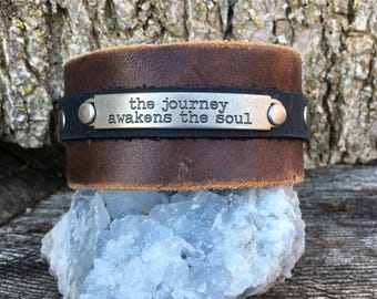 Handmade one of a kind leather cuff bracelet with metal stamp quote keikosbeadbox