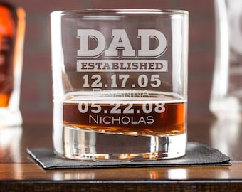 Custom Whiskey Glass, Dad Established Glass, Gift for Dad, Whiskey Dad Est, Personalized Whiskey Glass, Scotch Glass, Etched Whiskey Glass