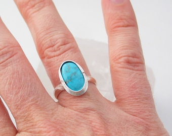 Sleeping Beauty Turquoise Ring Sterling Silver Ring Southwestern Jewelry Custom Made to Your Size