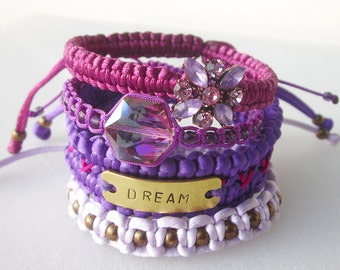 DREAM friendship bracelet set, inspirational hand stamped cuff, purple stack bracelets, crystals macrame bohemian bracelets, gypsy, hippie
