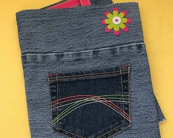 """Removable Reusable Denim Composition Book Cover, 7.5"""" x 9.75"""" // Pink and Green Flower with Pink, Green, White Pocket Stitching"""